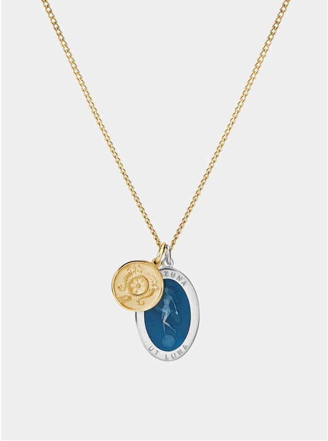 14K Gold /Sterling Silver Fortuna Necklace