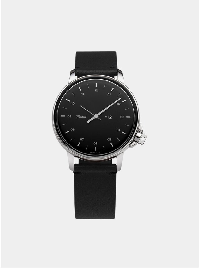 Black / Black Leather M12 Quartz Watch