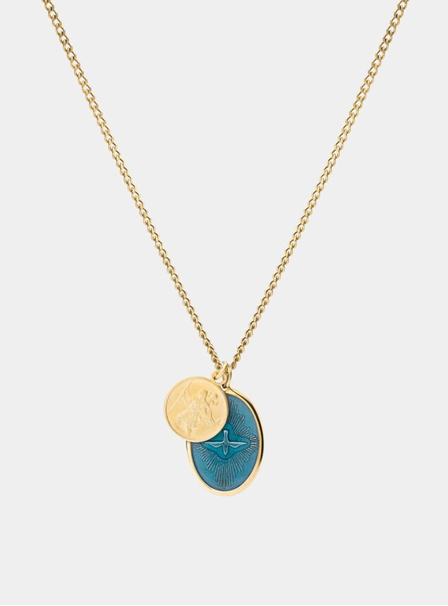 Gold / Teal Mini Dove Necklace