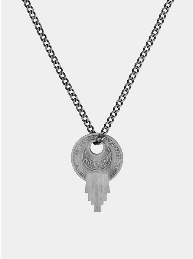 Matt Sterling Silver Wise Lock Necklace