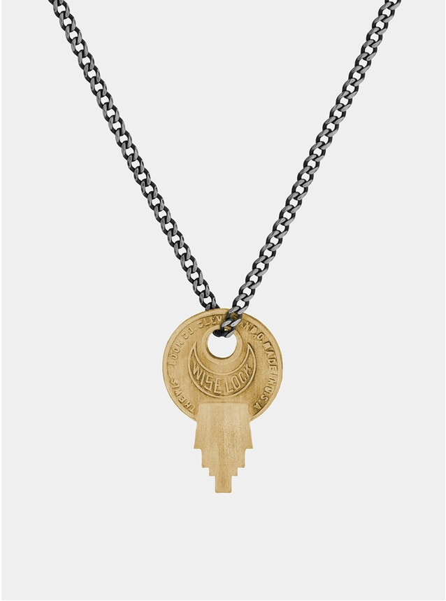 Matte Brass Wise Lock Necklace