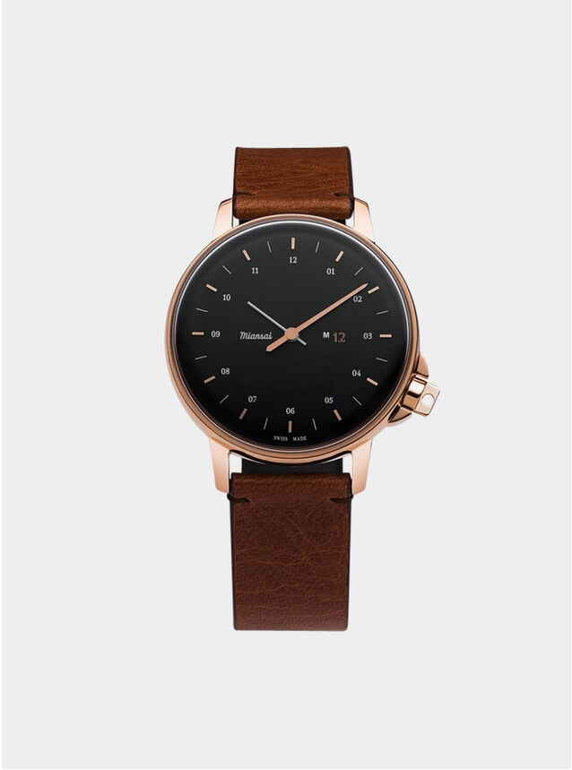 Rose / Black / Cognac Leather M12 Watch