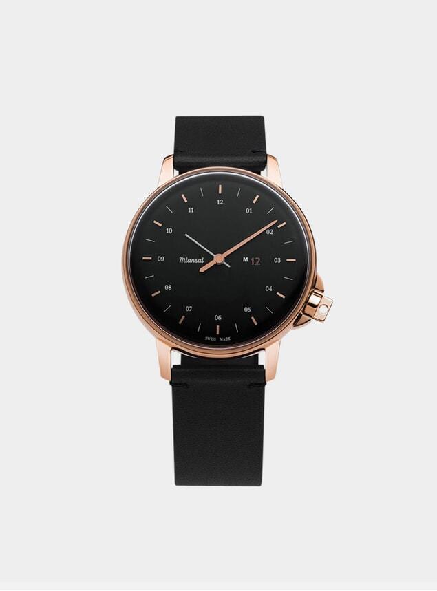 Rose / Black Leather M12 Watch