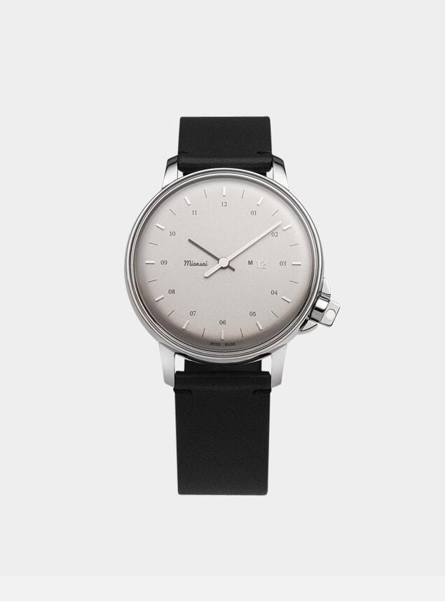 Silver / Black Leather Swiss M12 Watch