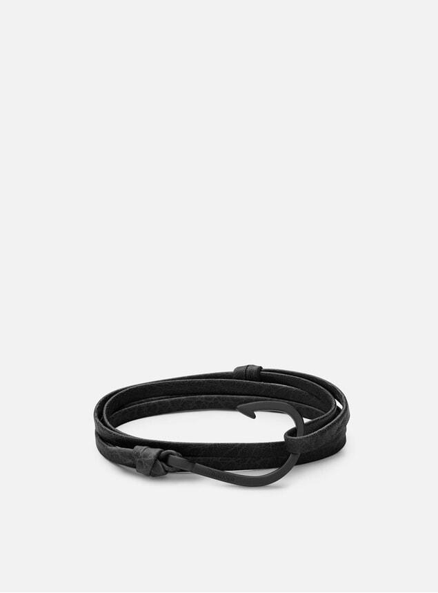 Black Hook on Leather Bracelet - Asphalt