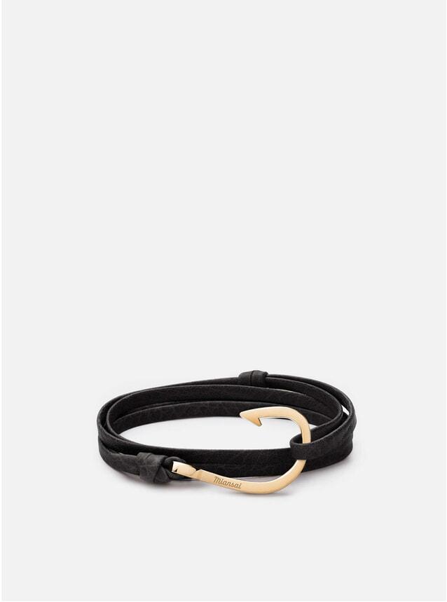 Gold Hook on Leather Bracelet - Asphalt