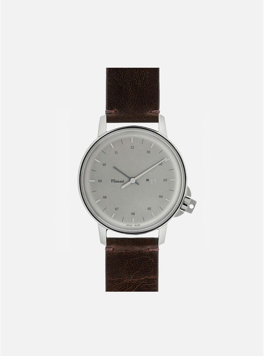 Swiss Silver / Vintage Chocolate Leather M12 Watch
