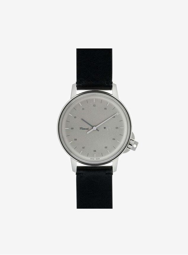 M12 Swiss Steel Watch Black Leather Strap