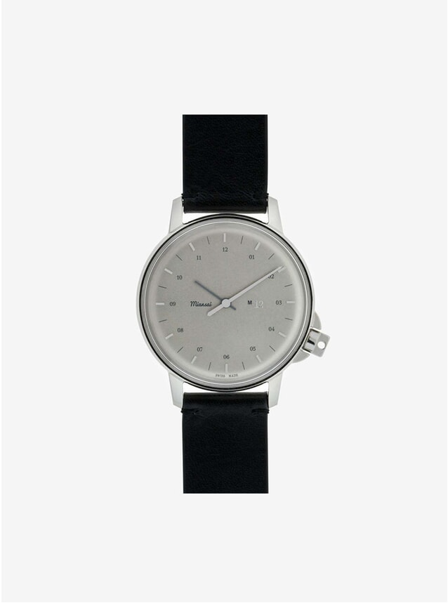 M12 Swiss Steel Watch Black Leather Strap