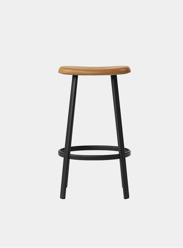 Black / Cognac Leather Anno Bar Stool