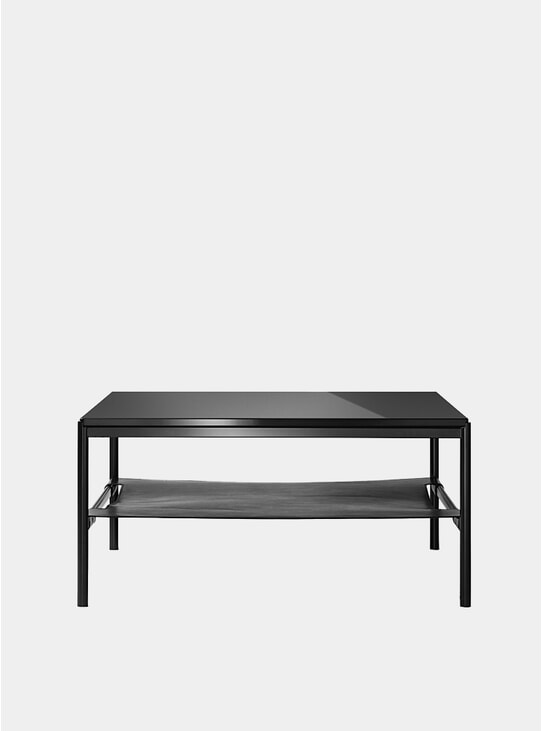 Black Glass / Black Leather Mies Lounge Table
