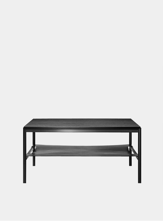 Black Oak Veneer / Black Leather Mies Lounge Tabe