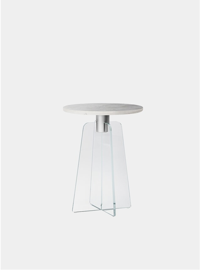 Clear Glass / Grey Marble Cupola Side Table