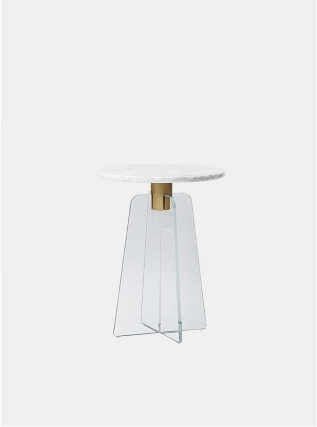 Clear Glass / White Marble Cupola Side Table