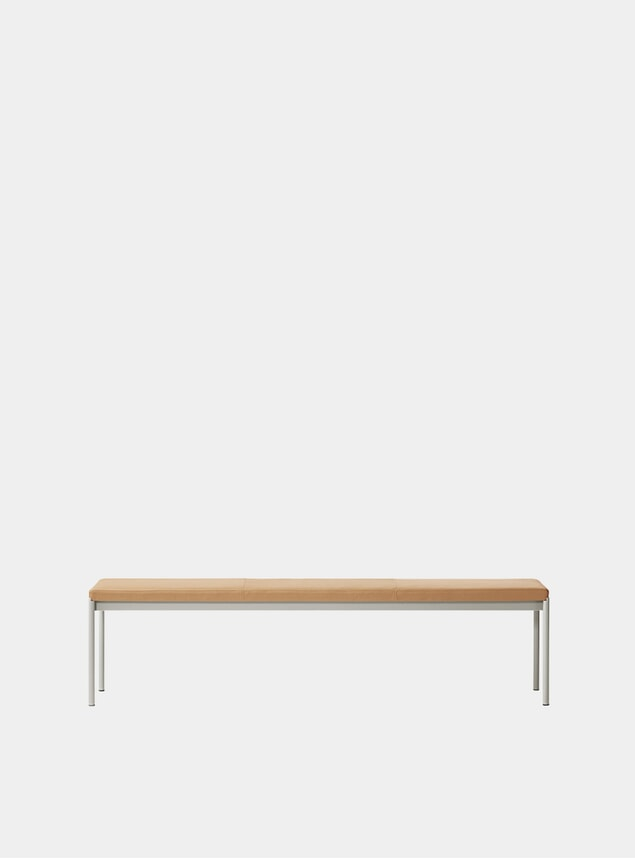 Grey / Cognac Leather Mies 180cm Bench
