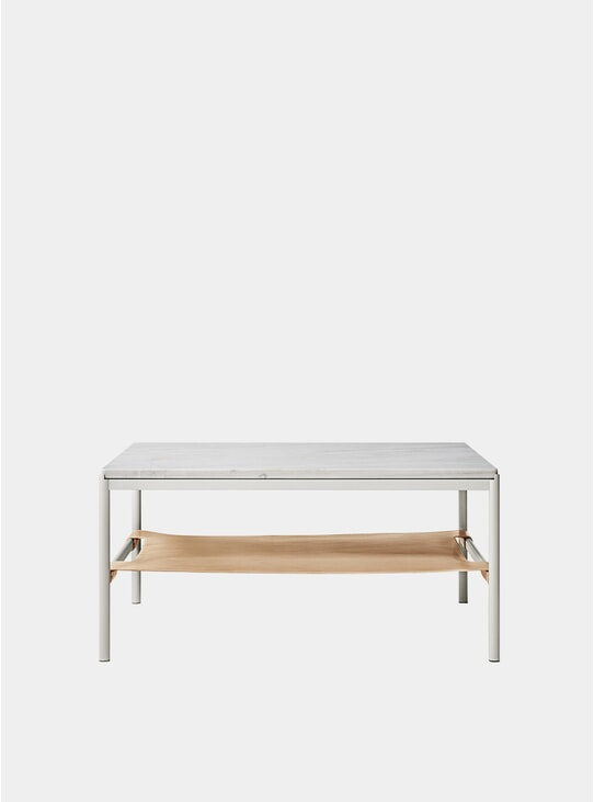 Pearl Grey Marble / Nat.Leather Mies Lounge Table