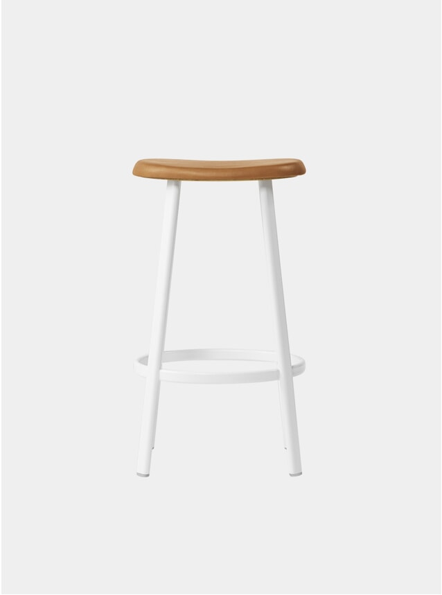 White / Cognac Leather Anno Bar Stool