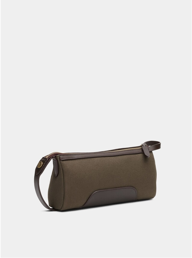 Army / Dark Brown M/S Prime Wash Bag