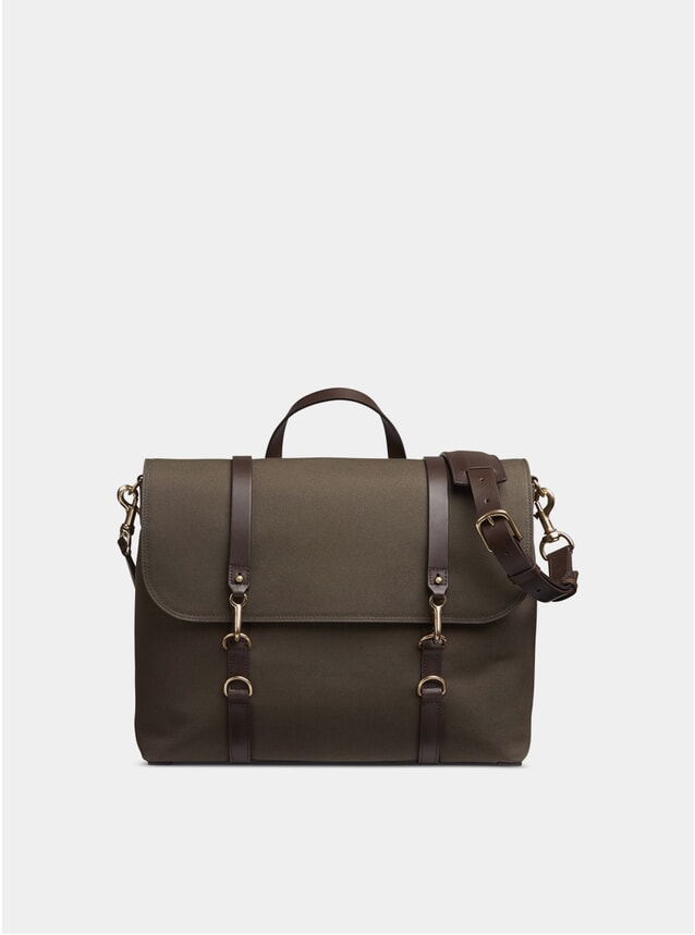 Army / Dark Brown M/S Satchel