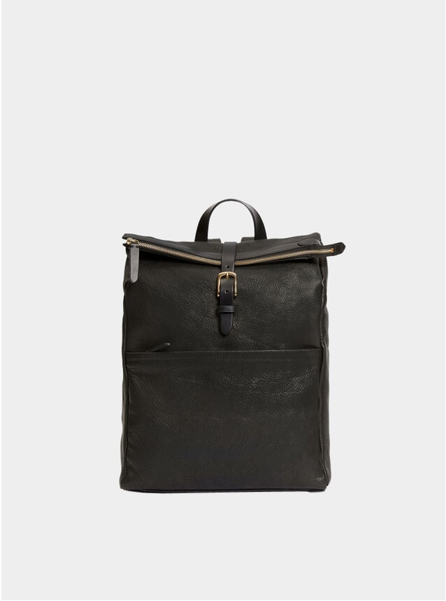 Black Leather Express Backpack