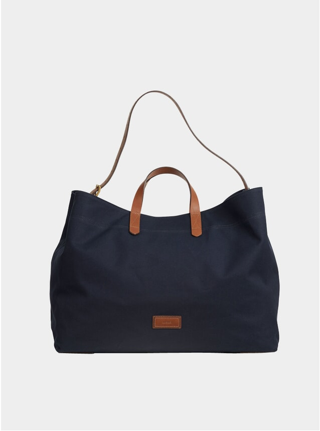Midnight Blue / Cuoio Cotton M/S Haven Bag