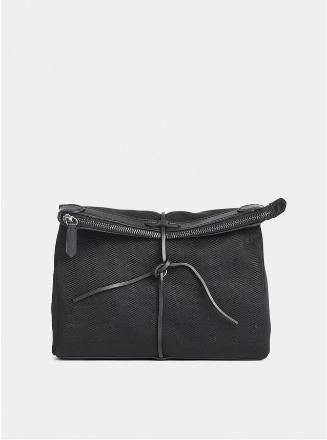 Black Leather Trim M/S Carry Bag