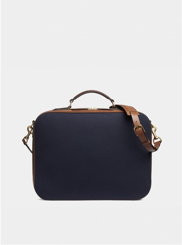 Midnight Blue / Cuoio Cotton M/S Suitcase