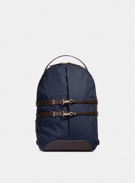 Navy / Dark Brown Canvas M/S Sprint Backpack