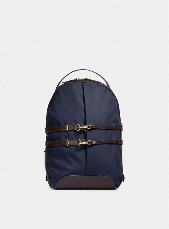 Navy / Dark Brown Canvas M/S Sprint Backpack