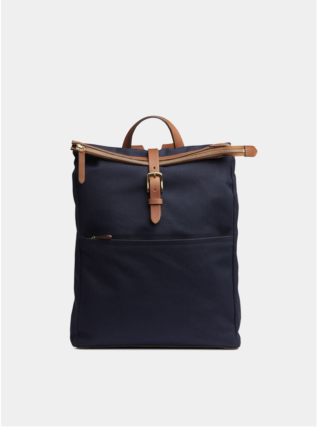 Midnight Blue / Cuoio Canvas M/S Express Backpack