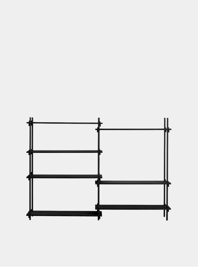Black Medium Double Shelving System