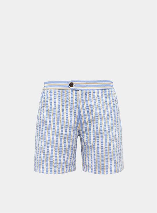 Sky Blue & Yellow Tailored Original Swim Shorts