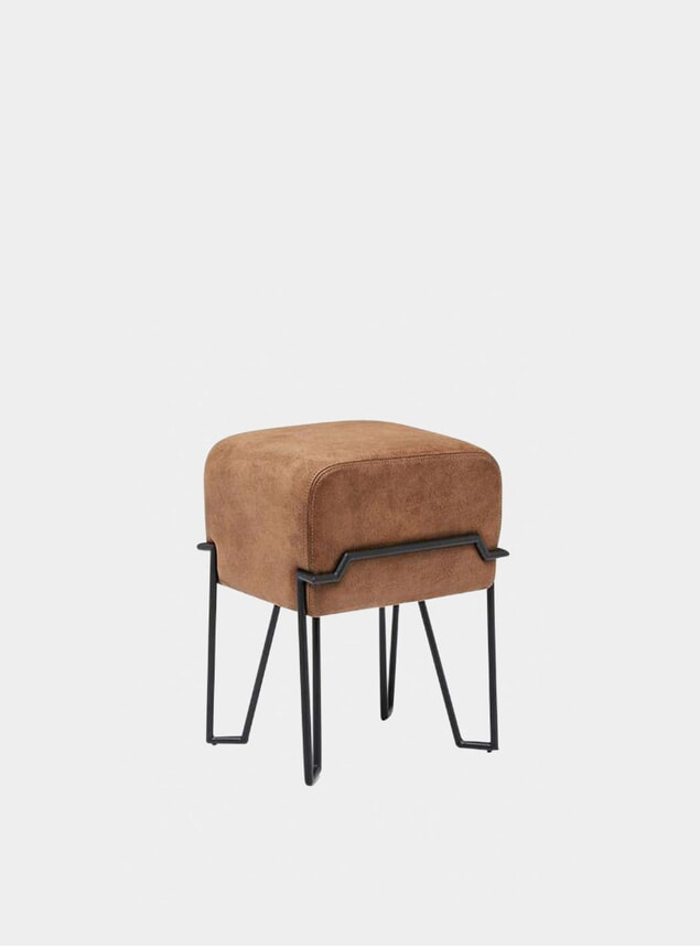 Brown Leather Bokk Stool