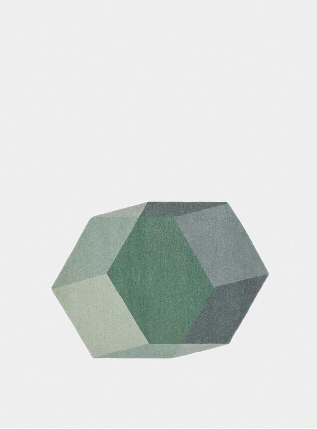 Green Hexagon Iso Isometric Rugs