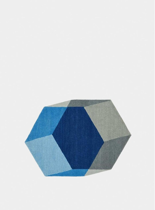 Blue Hexagon Iso Isometric Rugs