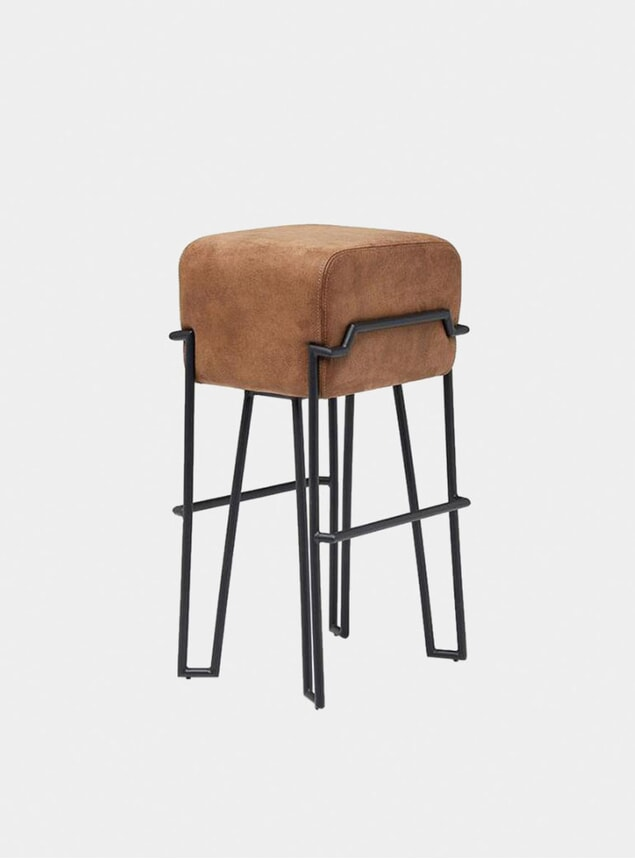 Brown Leather Bokk Bar Stool
