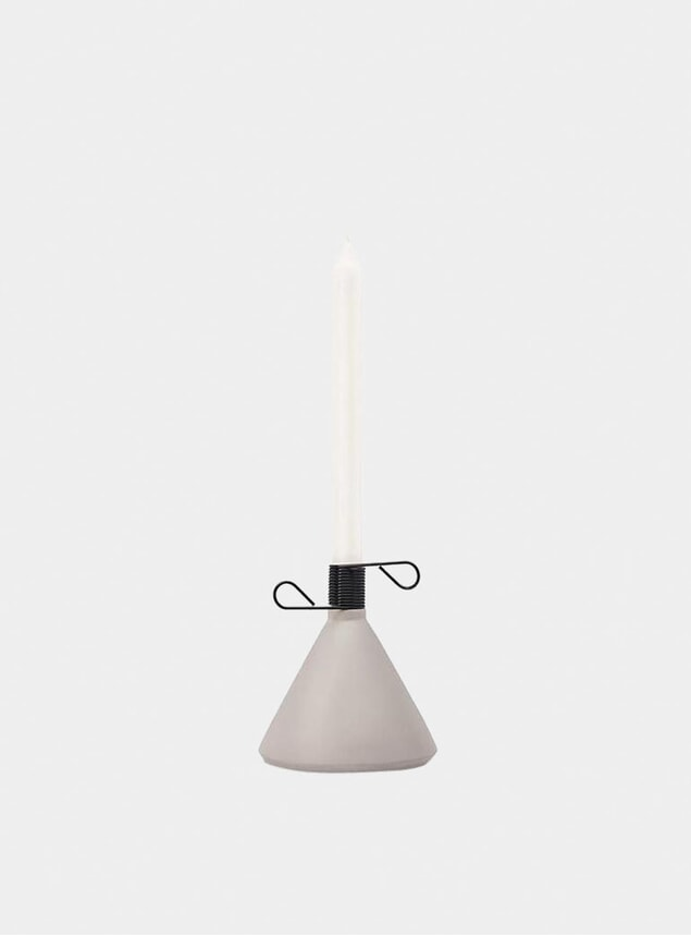 Grey Concrete Conic Candle Holder