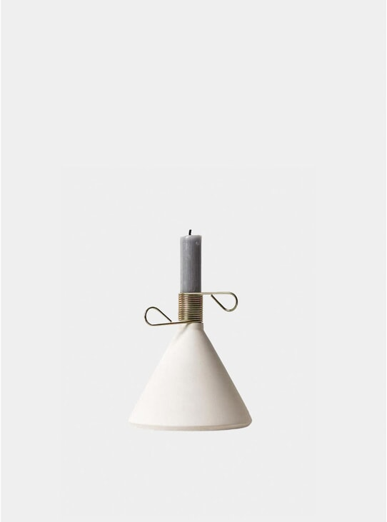 White Concrete Conic Candle Holder
