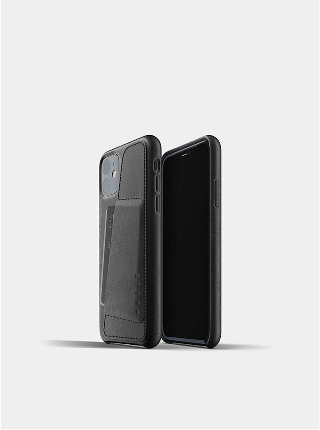 Black Full Leather Wallet iPhone 11 Case