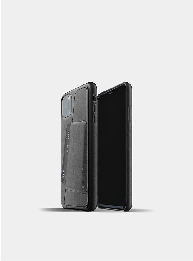 Black Full Leather Wallet iPhone Pro Max Case