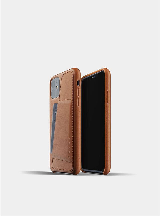 Tan Full Leather Wallet iPhone 11 Case