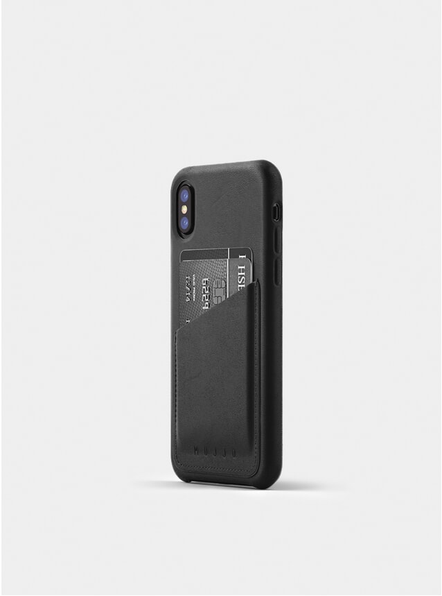 Black Full Leather iPhone X Wallet Case