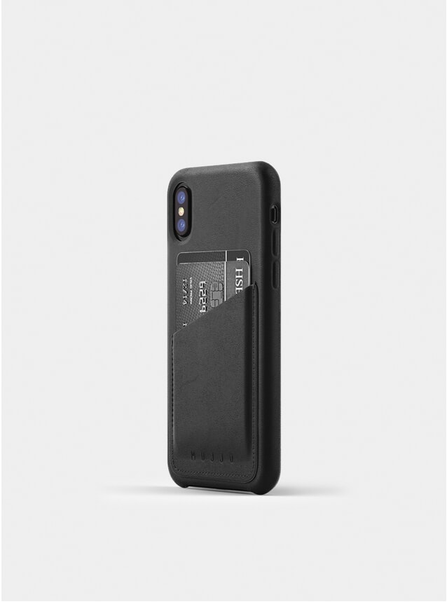 Grey Full Leather iPhone X Wallet Case