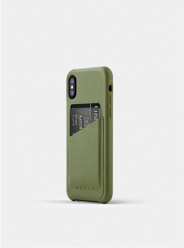 Olive Full Leather iPhone X Wallet Case