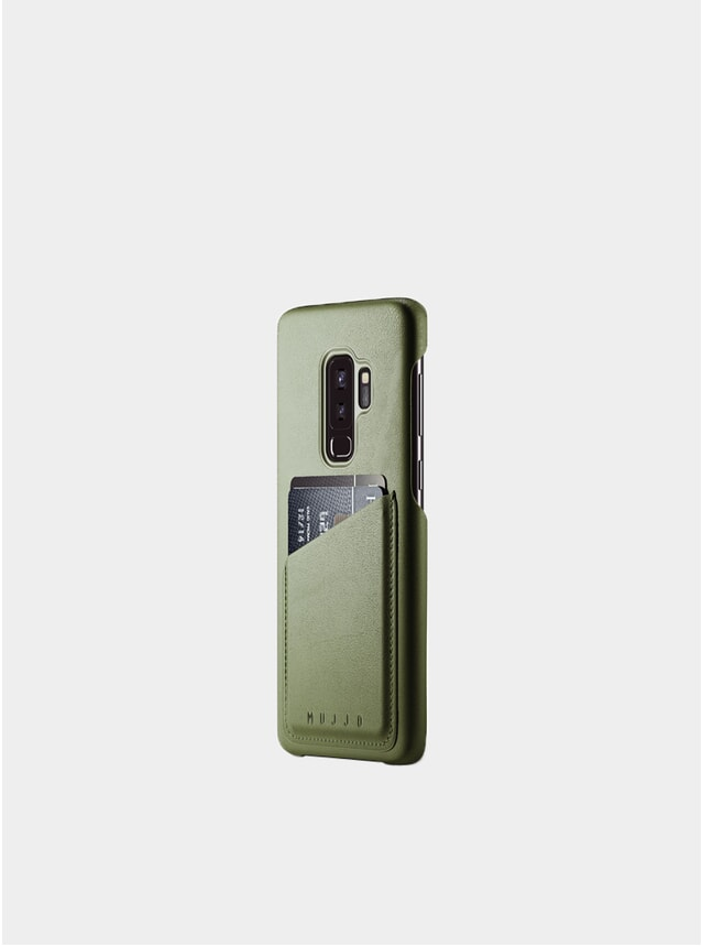 Olive Galaxy S9 Plus Leather Wallet Case