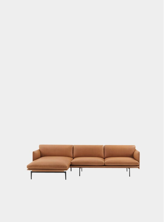 Cognac Silk Leather Chaise Lounge Sofa