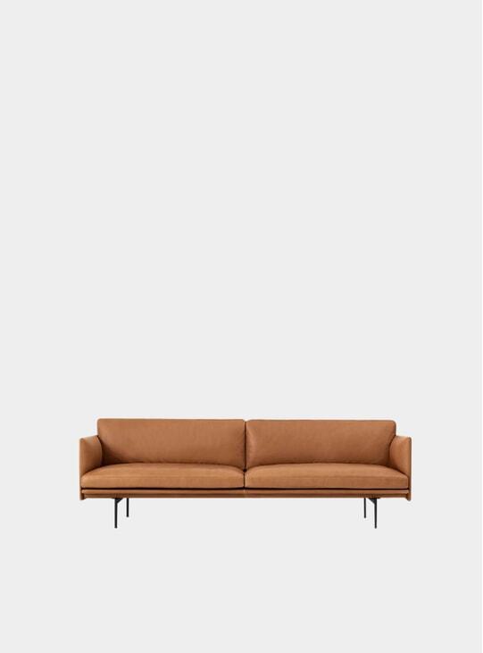 Cognac Silk Leather Three Seater Outline Sofa
