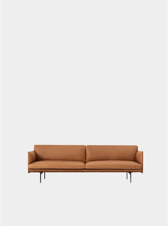 Cognac Silk Leather Three Seater Outline Sofa