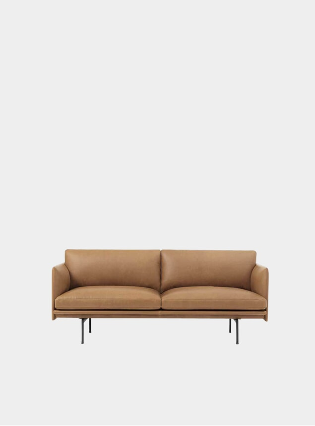 Cognac Silk Leather Two Seater Outline Sofa