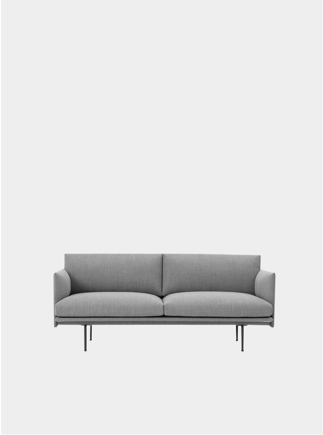 Grey Fabric Three Seater Outline Sofa